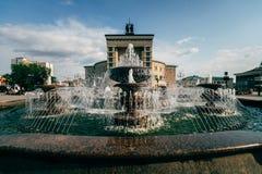 在正方形的喷泉在乌兰乌德 库存图片