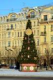 在正方形的圣诞树 库存图片