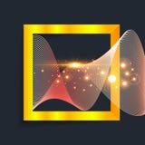 在正方形的抽象金波浪 免版税库存照片