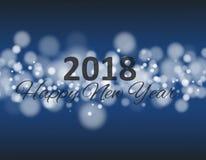 在正方形的新年好2018年与bokeh和透镜火光样式蓝色背景传染媒介 库存例证