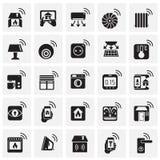 在正方形背景的聪明的家庭集合图表和网络设计的,现代简单的传染媒介标志 背景蓝色颜色概念互联网 时髦标志为 皇族释放例证