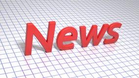 在正方形被排行的纸的红色题字 新闻 图象例证 3d翻译 背景 库存照片