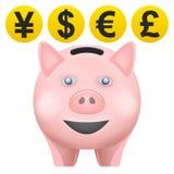 在正面图的猪treassure与货币铸造传染媒介 免版税库存照片