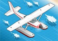 在正面图的等量飞行水上飞机 免版税库存图片