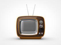 在正面图的葡萄酒橙色电视 库存照片