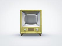 在正面图的葡萄酒黄色电视 库存照片