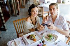 在正餐的夫妇 图库摄影
