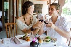 在正餐的夫妇 免版税库存图片