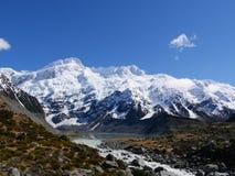 在步行期间的山对Mt 厨师 库存图片