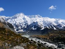在步行期间的山对Mt 厨师 免版税库存照片