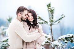 在步行的年轻夫妇在多雪的山 免版税库存照片