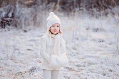 在步行的逗人喜爱的小女孩画象在冬天多雪的结冰的森林里 免版税库存图片