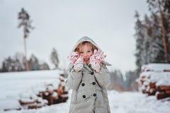 在步行的逗人喜爱的愉快的儿童女孩画象在冬天多雪的森林里 库存照片