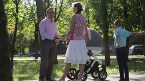 在步行的年轻家庭在公园 新鲜空气和好心情 股票视频