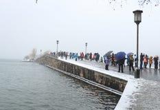 在残破的(duanqiao)桥梁的熔化的雪 库存图片