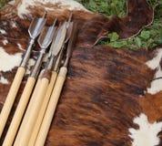 在母牛毛皮上的中世纪长矛 库存图片
