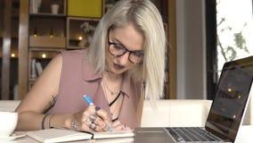 在每日计划者的女实业家文字 股票录像