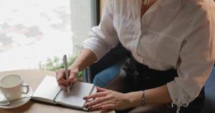 在每日计划者的妇女文字 影视素材
