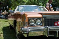 在每年老朋友车展的老卡迪拉克黄金国 免版税库存照片