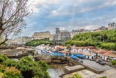 在比亚利兹-法国的港的看法 库存照片