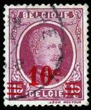 在比利时打印的邮票显示画象阿尔伯特国王我 免版税图库摄影