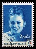 在比利时打印的邮票致力国际红十字会的100th周年 免版税库存照片