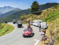 在比利牛斯山的Kleber有蓬卡车-环法自行车赛2015年 库存照片