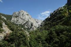 在比利牛斯orientales的Galamus峡谷,法国 图库摄影