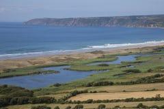 在比维尔附近的海景在Normady 库存图片