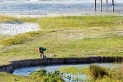 在比莱尼盐水湖的日常生活在莫桑比克 免版税库存图片