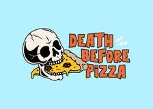 在比萨头骨和比萨切片颜色前的死亡 库存例证