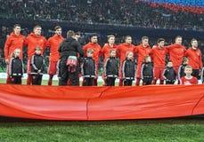 在比赛前的俄国国家橄榄球队反对Cot& Ivore 免版税库存照片