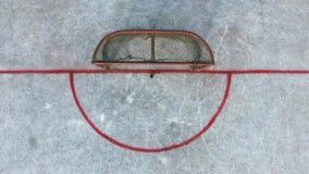 在比赛前的曲棍球门在街道曲棍球顶部 库存照片