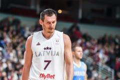 在比赛期间的亚尼斯Blums,在拉脱维亚和乌克兰之间 库存照片