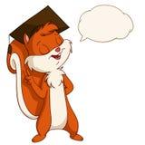 在毕业的帽子的动画片灰鼠有谈话泡影的 库存照片