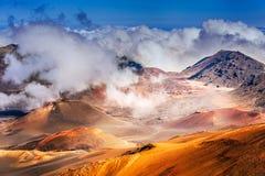 在毛伊海岛上的Haleakala火山在夏威夷 免版税库存图片