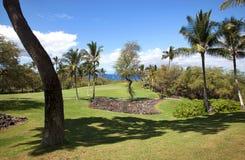 在毛伊的风景高尔夫球视图 库存图片