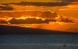 在毛伊,夏威夷的热带日落 免版税库存图片