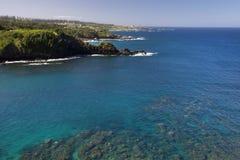 在毛伊,夏威夷西海岸的Honolua海湾  免版税库存照片