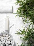 在毛巾背景的竹子叶子 库存照片