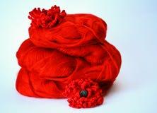 在毛海织物的红色花 库存图片