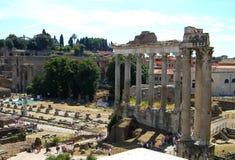 在毛皮围巾的小山和罗马论坛的古老colums 库存图片