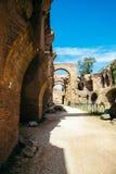 在毛皮围巾的小山的古老废墟在罗马,意大利 库存照片