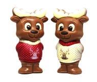 在毛线衣圣诞节的巧克力驯鹿 图库摄影