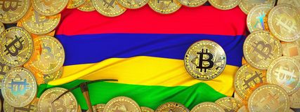 在毛里求斯旗子附近的Bitcoins在左边的金子和镐 3d 皇族释放例证