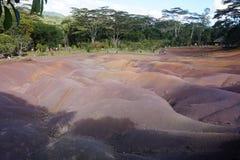 在毛里求斯海岛上的七色的地球 免版税库存图片