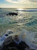 在毛里求斯海岛上的粗砺的海滩 库存照片