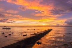 在毛里求斯的日落 库存照片