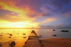 在毛里求斯的日落 免版税库存照片