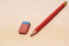 在毫米纸有一支简单的铅笔和一个橡皮擦克洛 免版税库存图片
